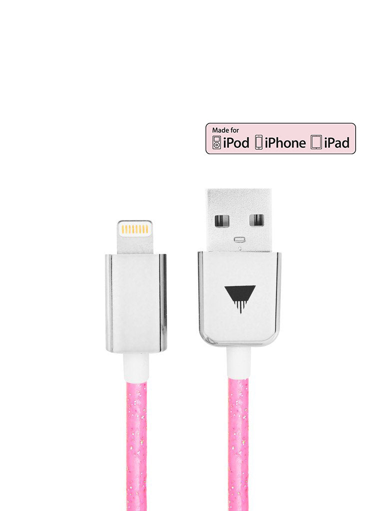 Bright Pink Glitter iPhone Cable