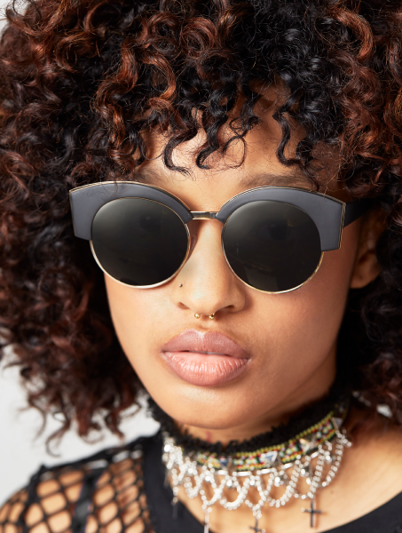 Dakota Black Round Club Sunglasses
