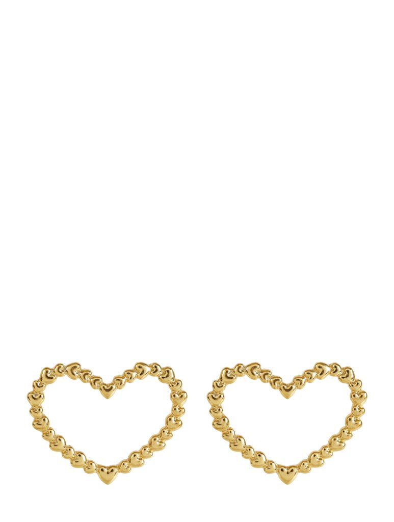 Gold Heart On Heart Earrings