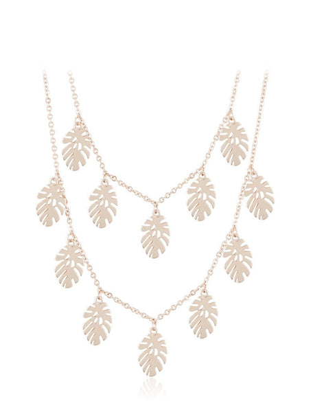 Rose Gold Palm Leaf Double Necklace