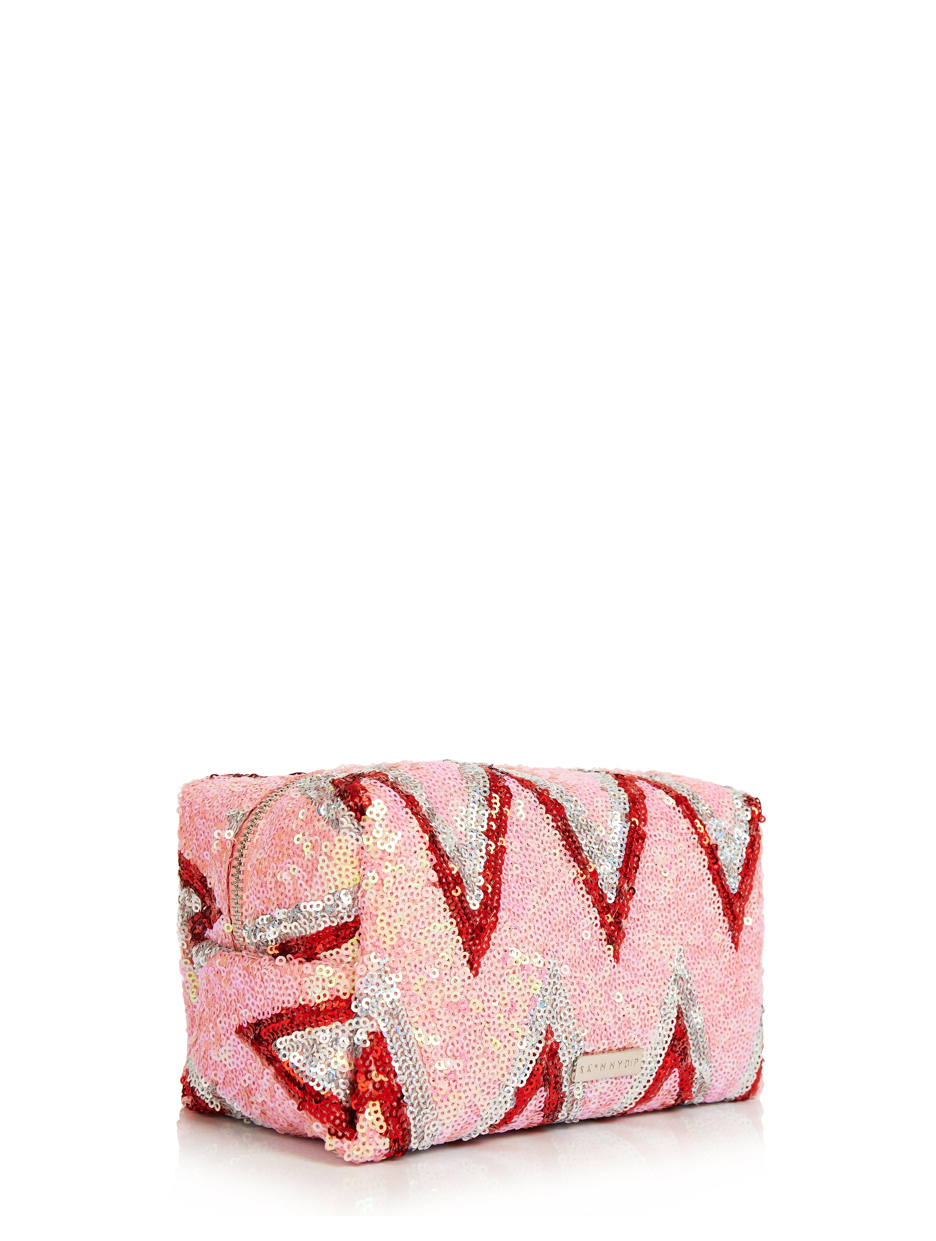 Pink Sequin Chevron Makeup Bag