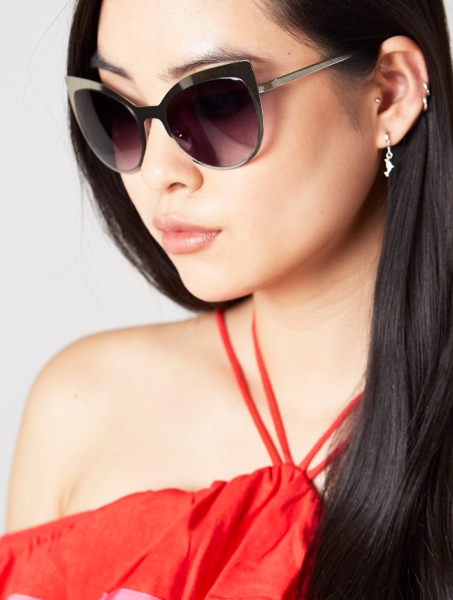 Scarlett Silver Metal Kitten Sunglasses