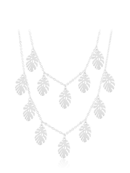 Silver Palm Leaf Double Necklace