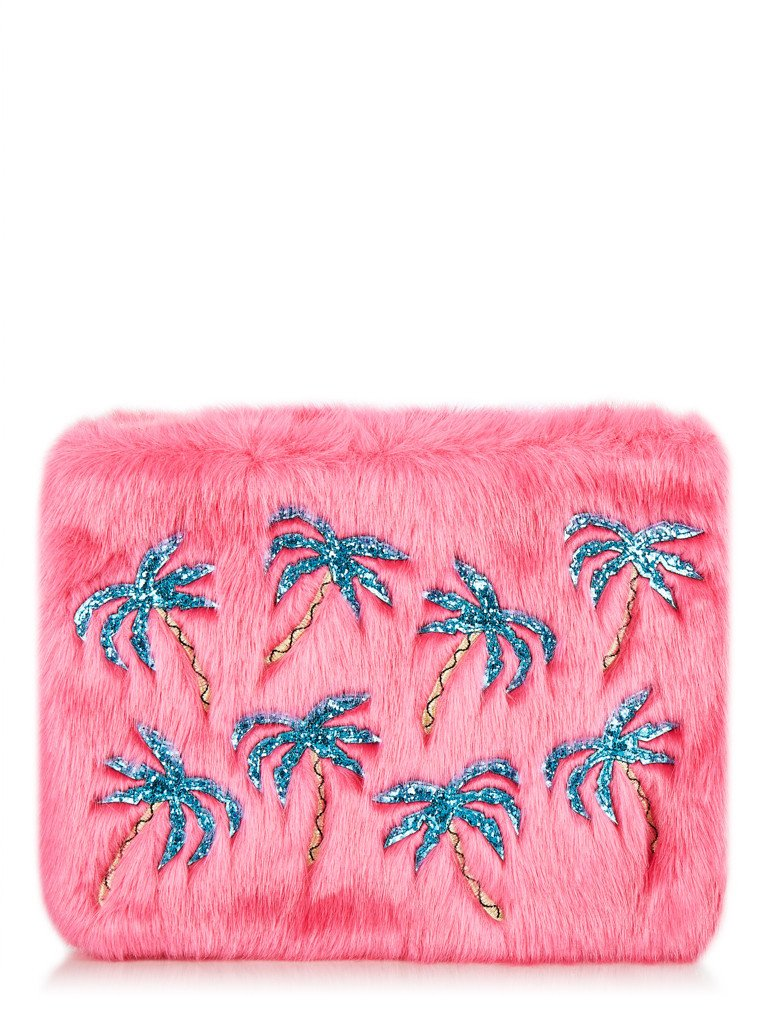 Palm Fur Clutch Bag