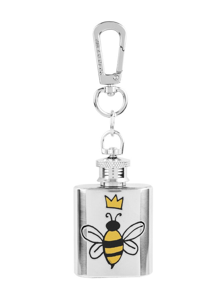 Bee Mini Hip Flask Key Charm