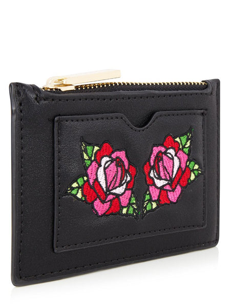 Rose Embroidered Coin Purse