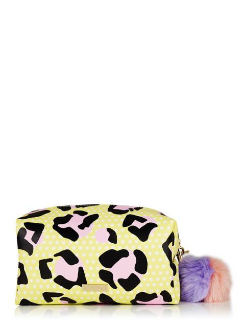 Lemon Leopard Makeup Bag