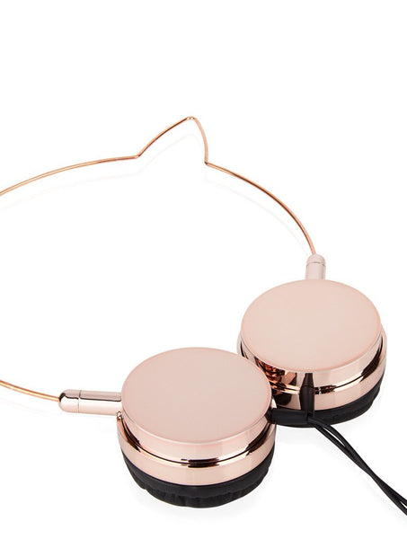 Zara Martin Rose Gold & Black Kitty Headphones