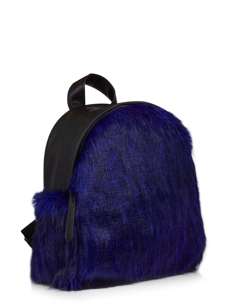 Charlie Navy Fur Mini Backpack