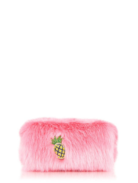 Skinnydip London Embroidered Fur Make Up Bag
