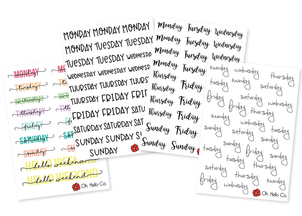 Days of the Week Stickers - Oh, Hello Stationery Co. bullet journal Erin Condren stickers scrapbook planner case customized gifts mugs Travlers Notebook unique fun
