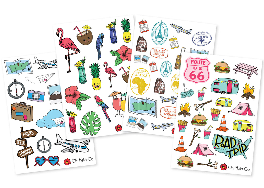 Travel Variety Stickers - Oh, Hello Stationery Co. bullet journal Erin Condren stickers scrapbook planner case customized gifts mugs Travlers Notebook unique fun