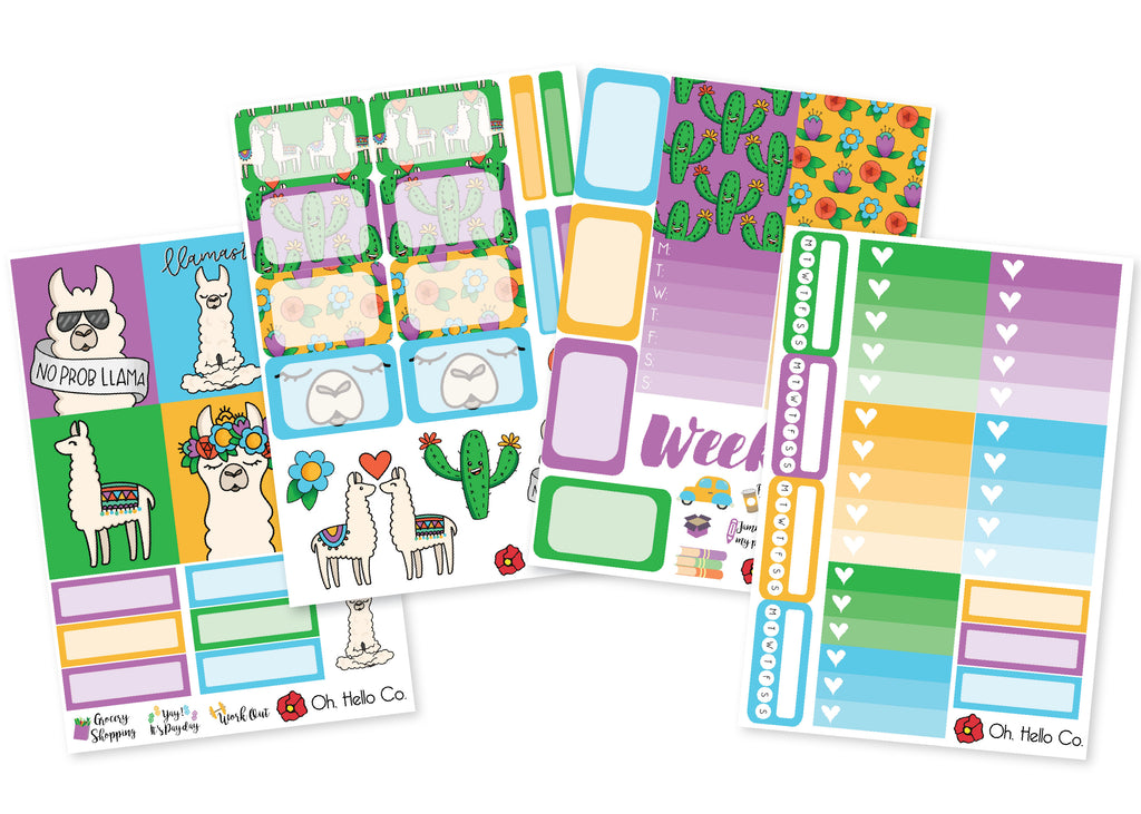 Llama Weekly Kit Stickers - Oh, Hello Stationery Co. bullet journal Erin Condren stickers scrapbook planner case customized gifts mugs Travlers Notebook unique fun
