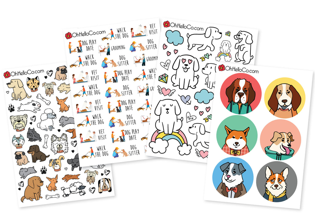 Dog Lover Variety Stickers - Oh, Hello Stationery Co. bullet journal Erin Condren stickers scrapbook planner case customized gifts mugs Travlers Notebook unique fun