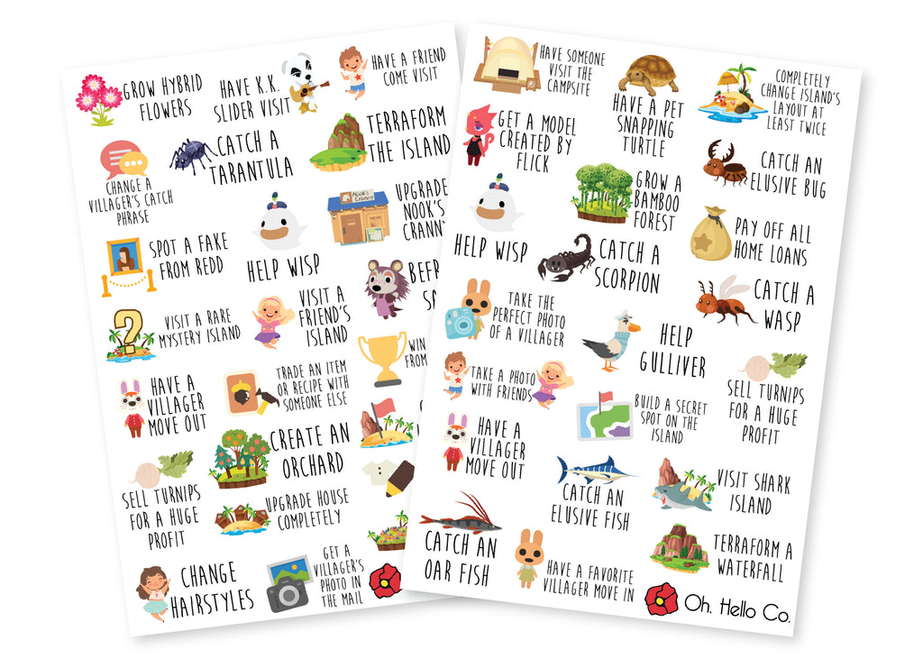 Animal Crossing Inspired Bucket List Stickers - Oh, Hello Stationery Co. bullet journal Erin Condren stickers scrapbook planner case customized gifts mugs Travlers Notebook unique fun