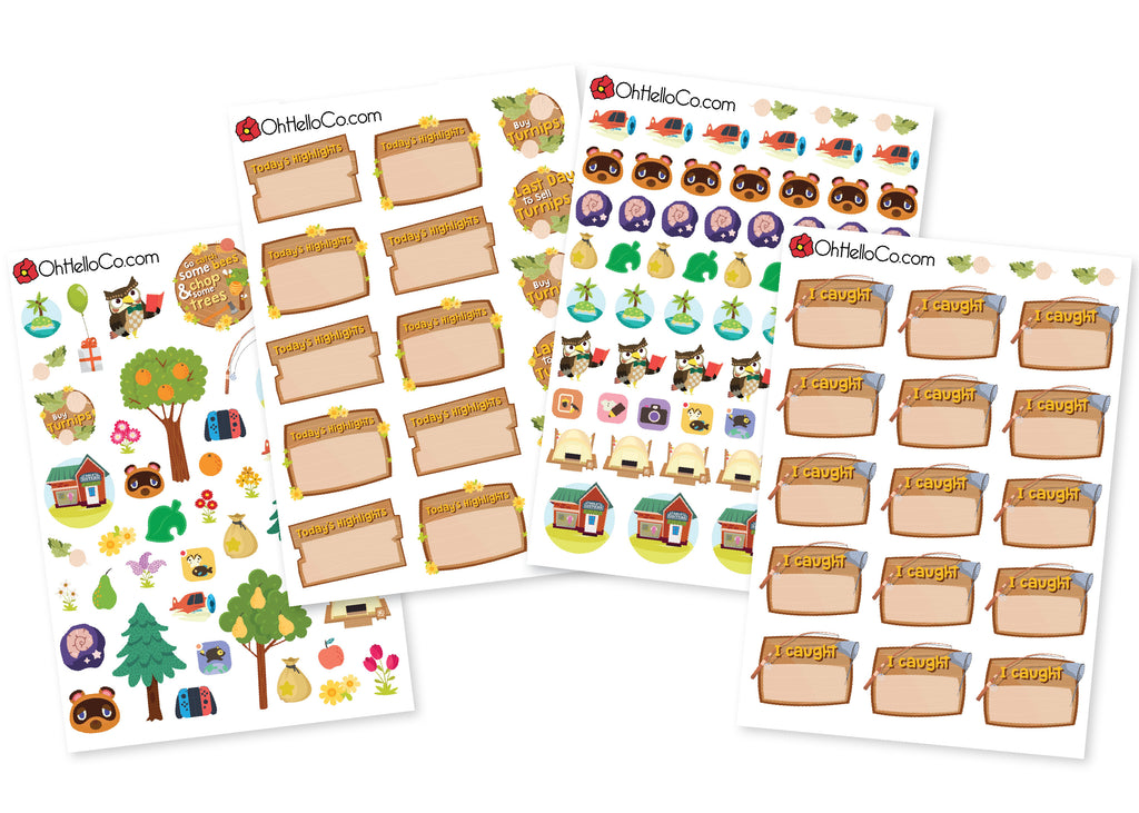 Animal Crossing Inspired Stickers - Oh, Hello Stationery Co. bullet journal Erin Condren stickers scrapbook planner case customized gifts mugs Travlers Notebook unique fun