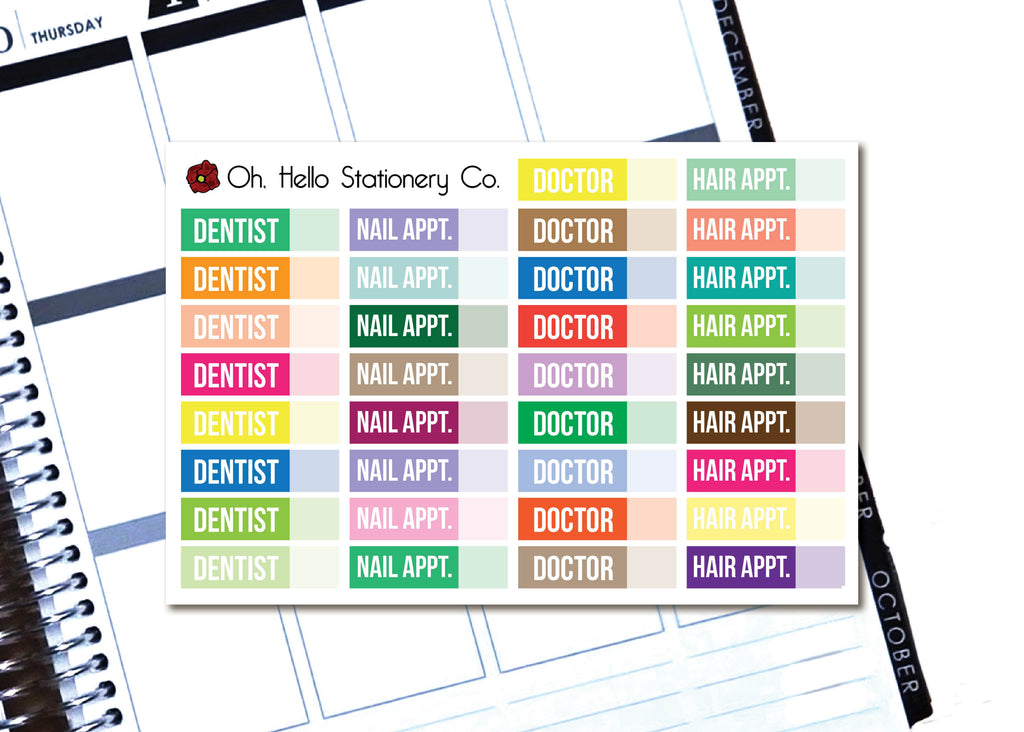 Appointment Labels - Printable Stickers for the Silhouette - Oh, Hello Stationery Co. bullet journal Erin Condren stickers scrapbook planner case customized gifts mugs Travlers Notebook unique fun