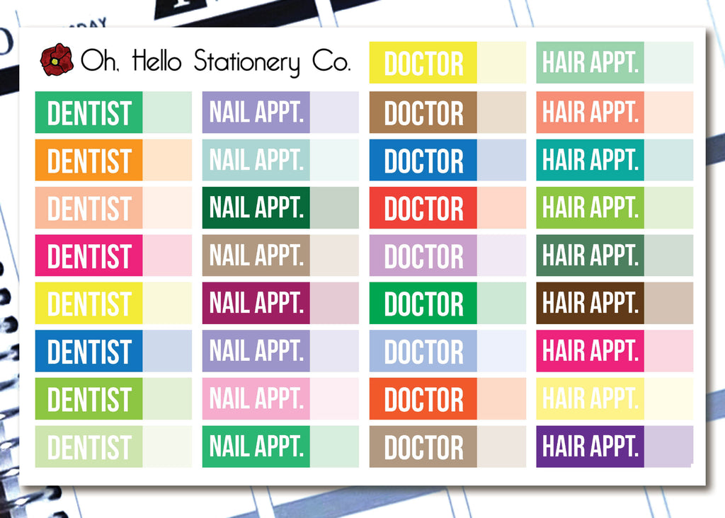 Variety Appointment Label Stickers - B9