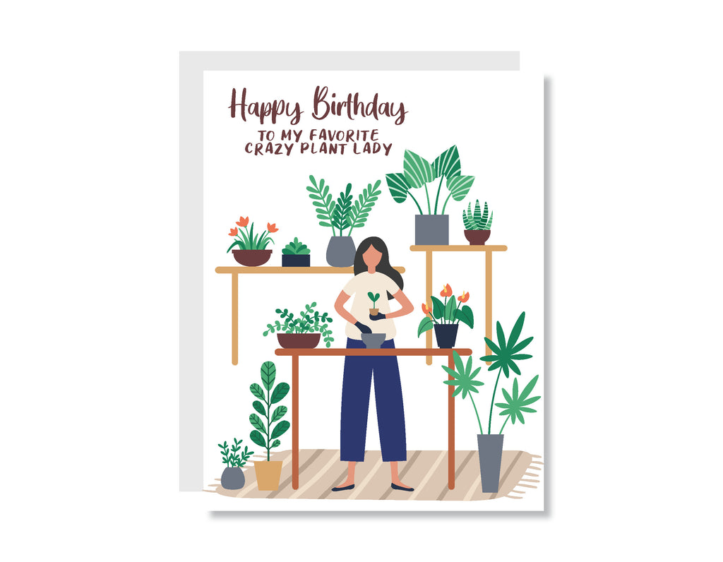 Crazy Plant Lady Birthday Greeting Card - CARD200