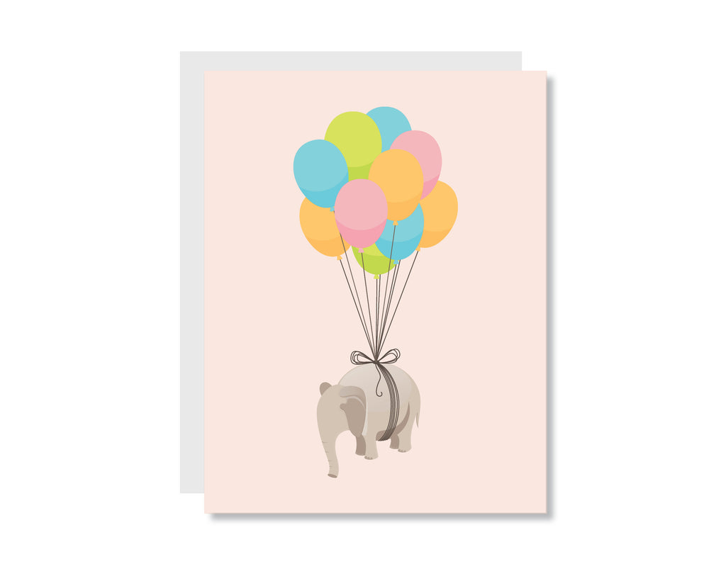 Elephant Balloons Greeting Card - CARD225