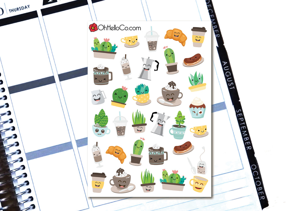 Coffee Shop - Printable Stickers for the Silhouette - Oh, Hello Stationery Co. bullet journal Erin Condren stickers scrapbook planner case customized gifts mugs Travlers Notebook unique fun
