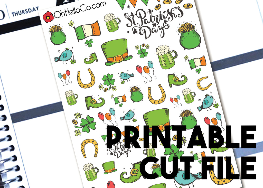 St. Patrick's Day Doodles - Printable Stickers for the Silhouette - Oh, Hello Stationery Co. bullet journal Erin Condren stickers scrapbook planner case customized gifts mugs Travlers Notebook unique fun