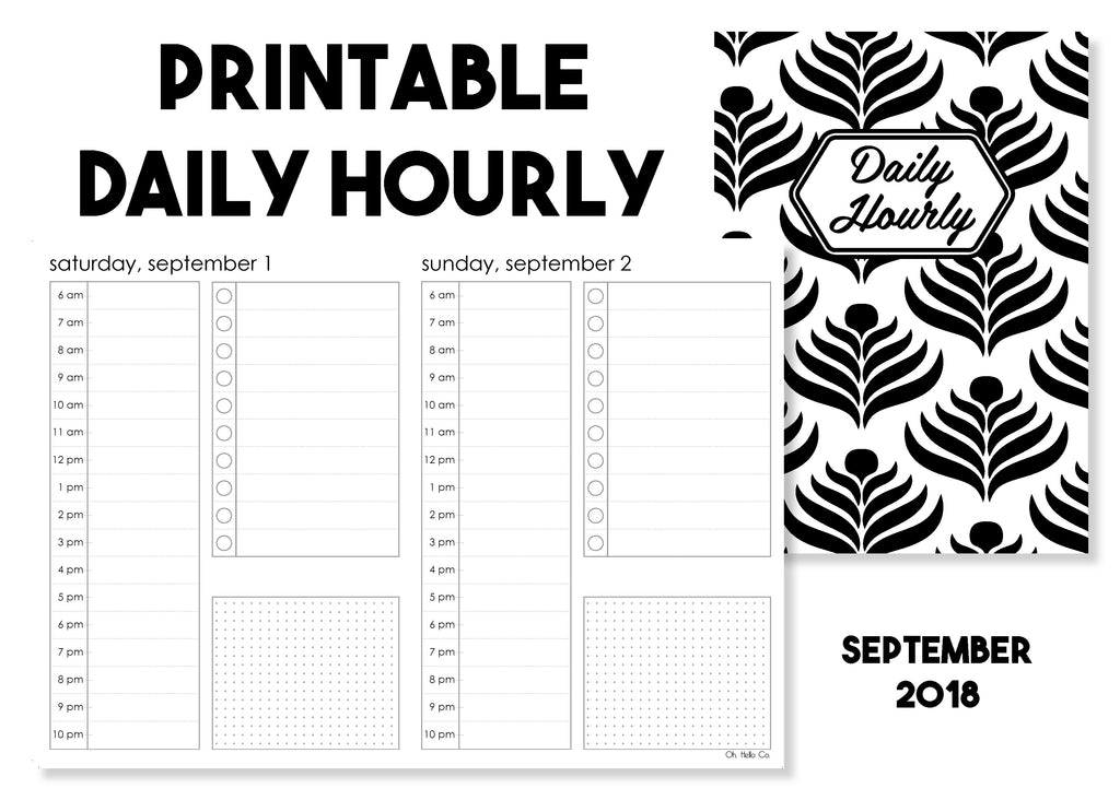 Printable Daily Hourly Traveler's Notebook Insert - September 2018 - Oh, Hello Stationery Co. bullet journal Erin Condren stickers scrapbook planner case customized gifts mugs Travlers Notebook unique fun