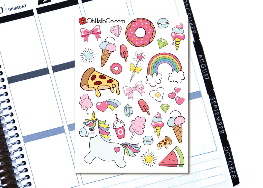 Unicorn Dream Doodles - Printable Stickers for the Silhouette
