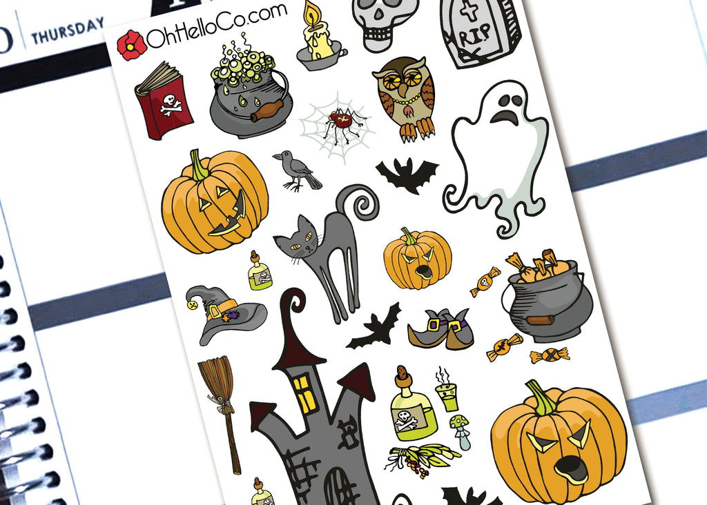 Halloween Doodles - Printable Stickers for the Silhouette