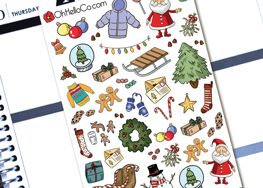 Christmas Doodles - Printable Stickers for the Silhouette