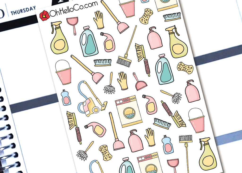 Spring Cleaning Doodles - Printable Stickers for the Silhouette - Oh, Hello Stationery Co. bullet journal Erin Condren stickers scrapbook planner case customized gifts mugs Travlers Notebook unique fun