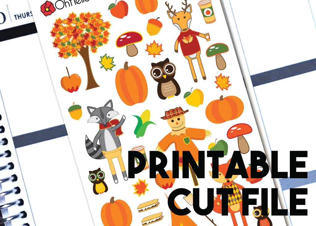 Fall/Autumn Decorative - Printable Stickers for the Silhouette