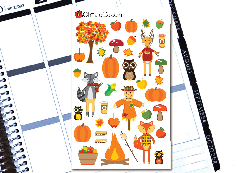 Autumn/Fall Decorative Stickers - H8 - Oh, Hello Stationery Co. bullet journal Erin Condren stickers scrapbook planner case customized gifts mugs Travlers Notebook unique fun
