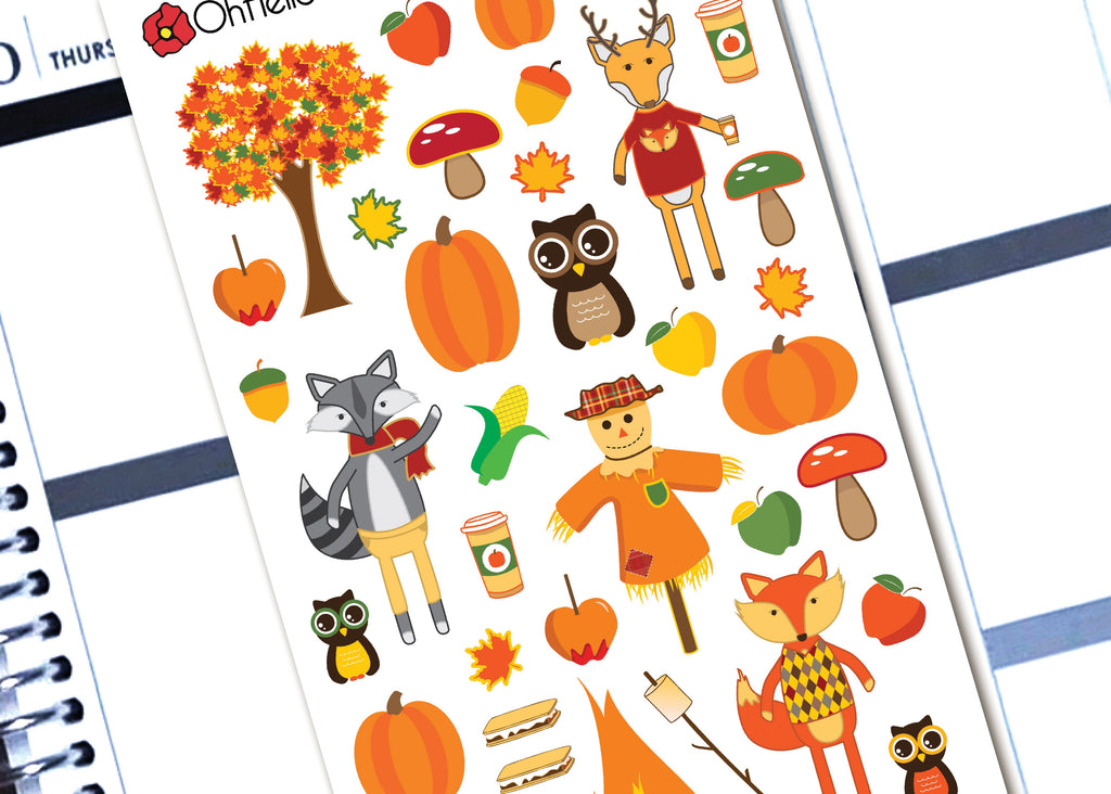 Autumn Decorative Stickers - H8 - Oh, Hello Stationery Co. bullet journal Erin Condren stickers scrapbook planner case customized gifts mugs Travlers Notebook unique fun
