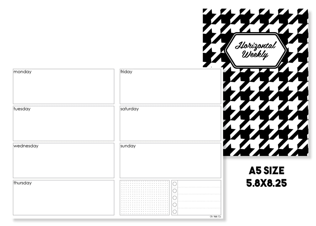 Horizontal Weekly Traveler's Notebook Insert - Oh, Hello Stationery Co. bullet journal Erin Condren stickers scrapbook planner case customized gifts mugs Travlers Notebook unique fun