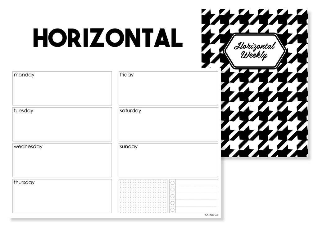 Horizontal Weekly Traveler's Notebook Insert