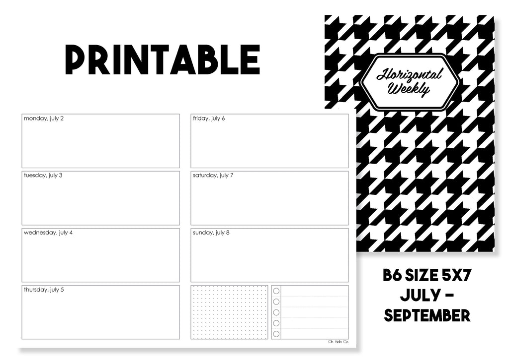 Printable Horizontal Weekly Traveler's Notebook Insert - July-September 2018