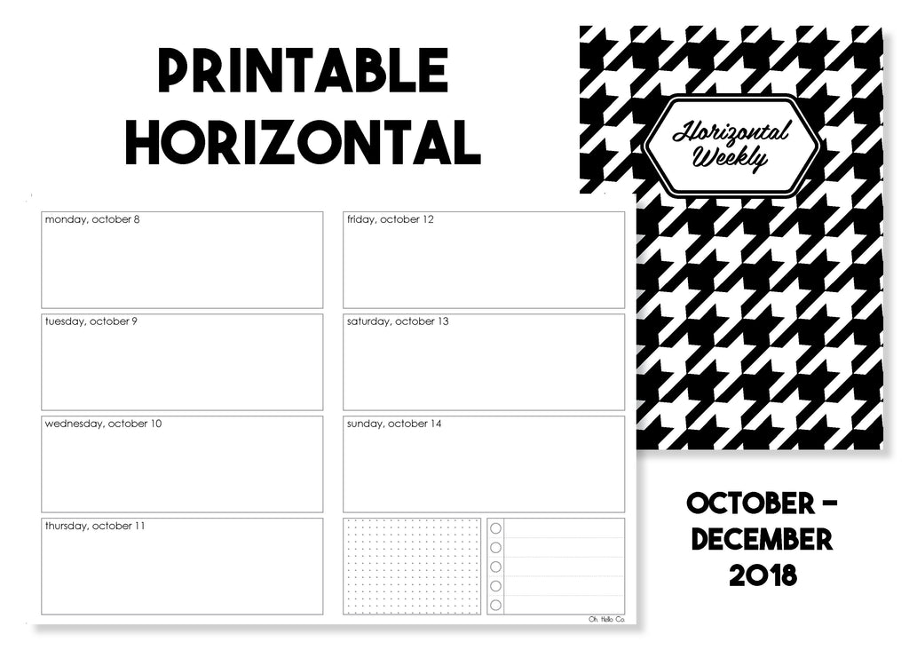 Printable Horizontal Weekly Traveler's Notebook Insert - October-December 2018 - Oh, Hello Stationery Co. bullet journal Erin Condren stickers scrapbook planner case customized gifts mugs Travlers Notebook unique fun