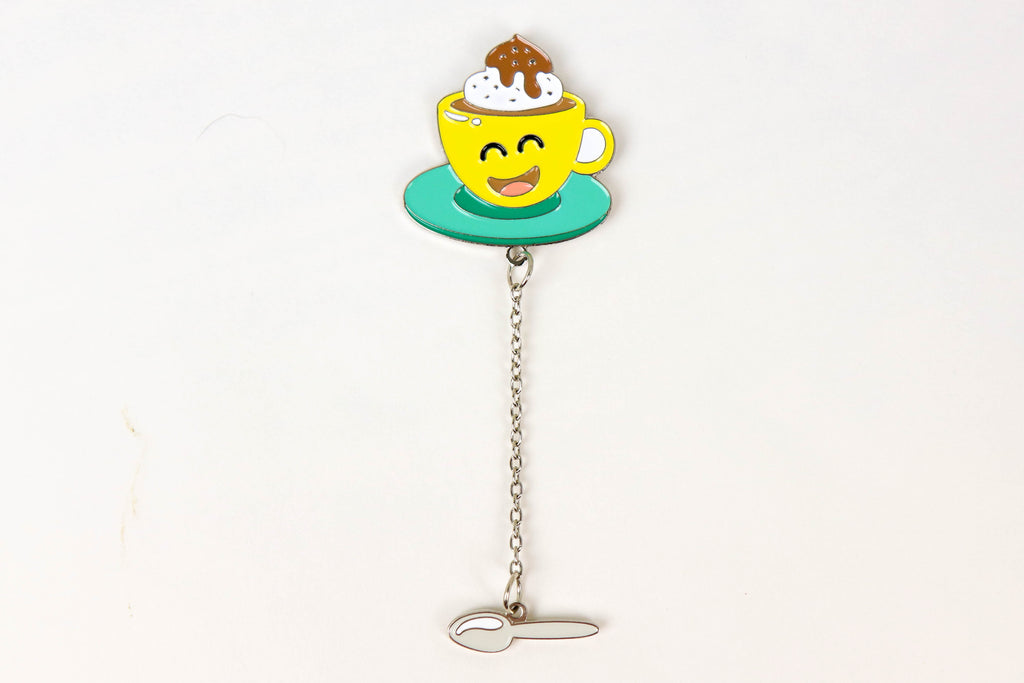Coffee with Dangle Spoon Enamel Pin - Oh, Hello Stationery Co. bullet journal Erin Condren stickers scrapbook planner case customized gifts mugs Travlers Notebook unique fun