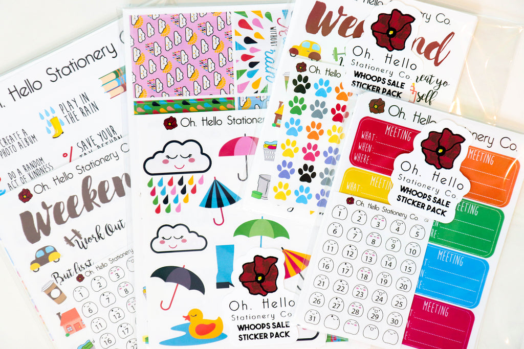 Whoops Sticker Set - 10 Assorted Sheets