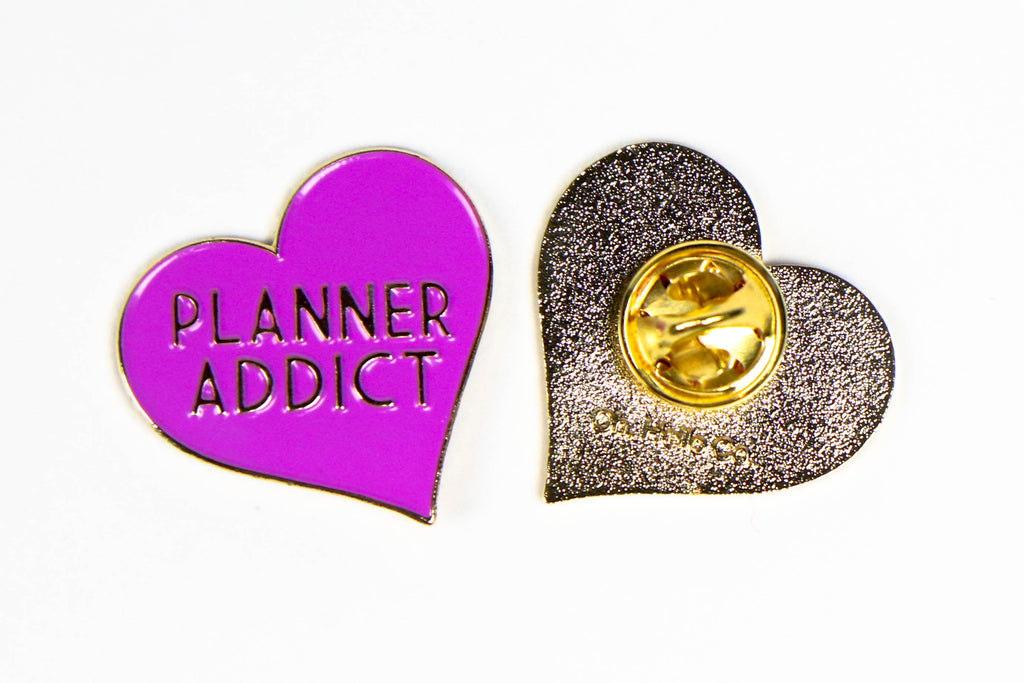 Purple Planner Addict Enamel Pin - Oh, Hello Stationery Co. bullet journal Erin Condren stickers scrapbook planner case customized gifts mugs Travlers Notebook unique fun