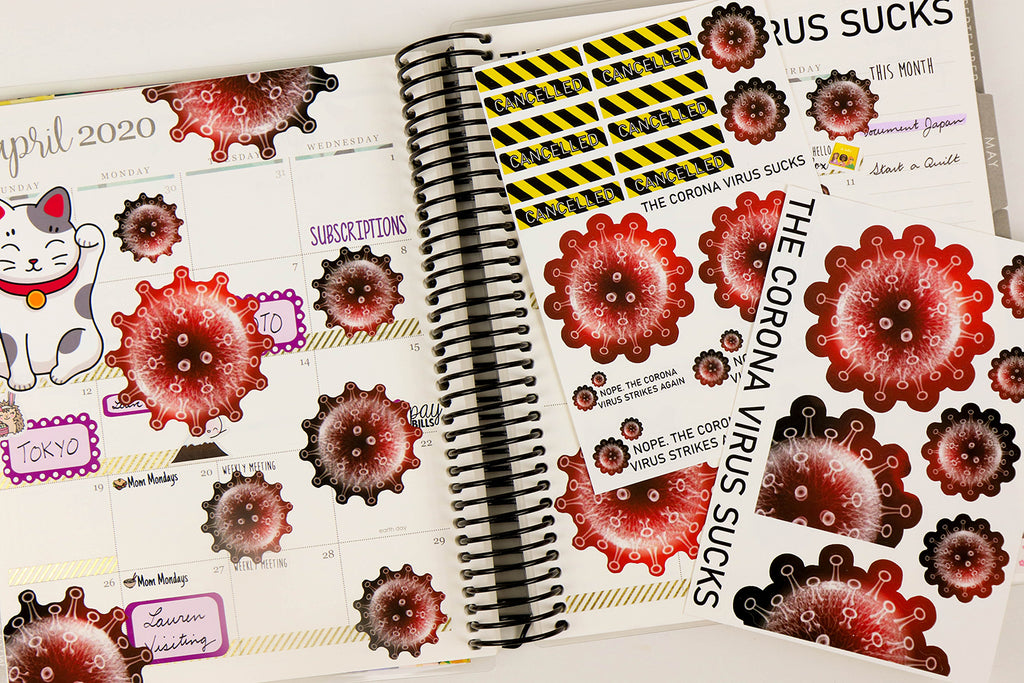 The Corona Virus Sucks - Printable Stickers for the Silhouette - Oh, Hello Stationery Co. bullet journal Erin Condren stickers scrapbook planner case customized gifts mugs Travlers Notebook unique fun