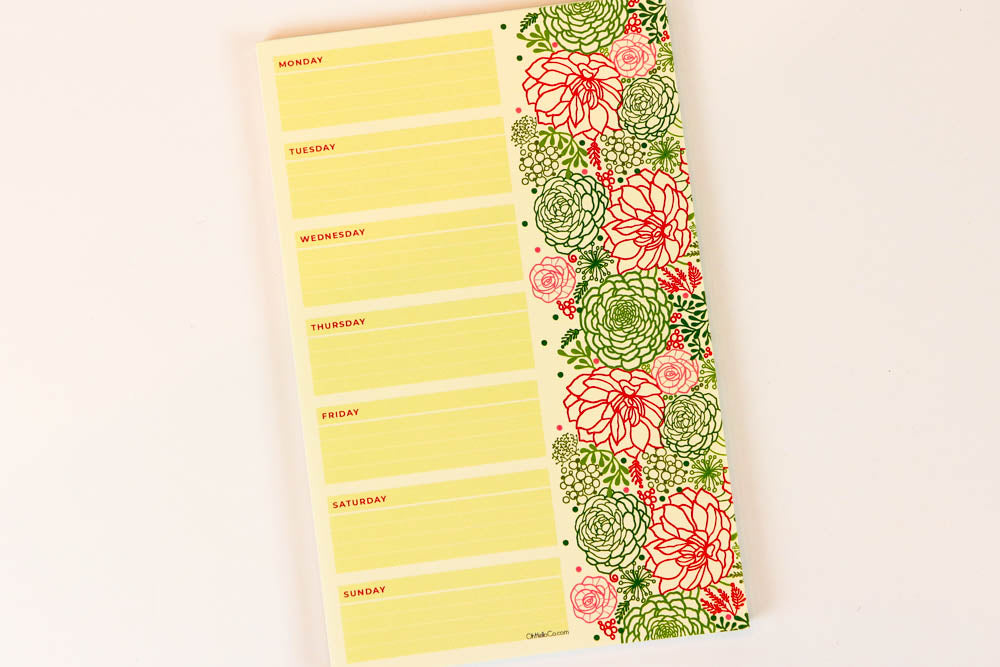 Green Blooms Weekly Large Notepad - Oh, Hello Stationery Co. bullet journal Erin Condren stickers scrapbook planner case customized gifts mugs Travlers Notebook unique fun