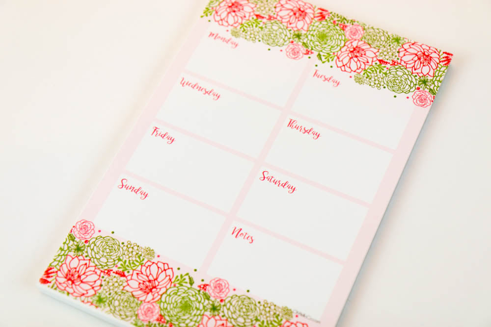 Pink Blooms Weekly Large Notepad - Oh, Hello Stationery Co. bullet journal Erin Condren stickers scrapbook planner case customized gifts mugs Travlers Notebook unique fun