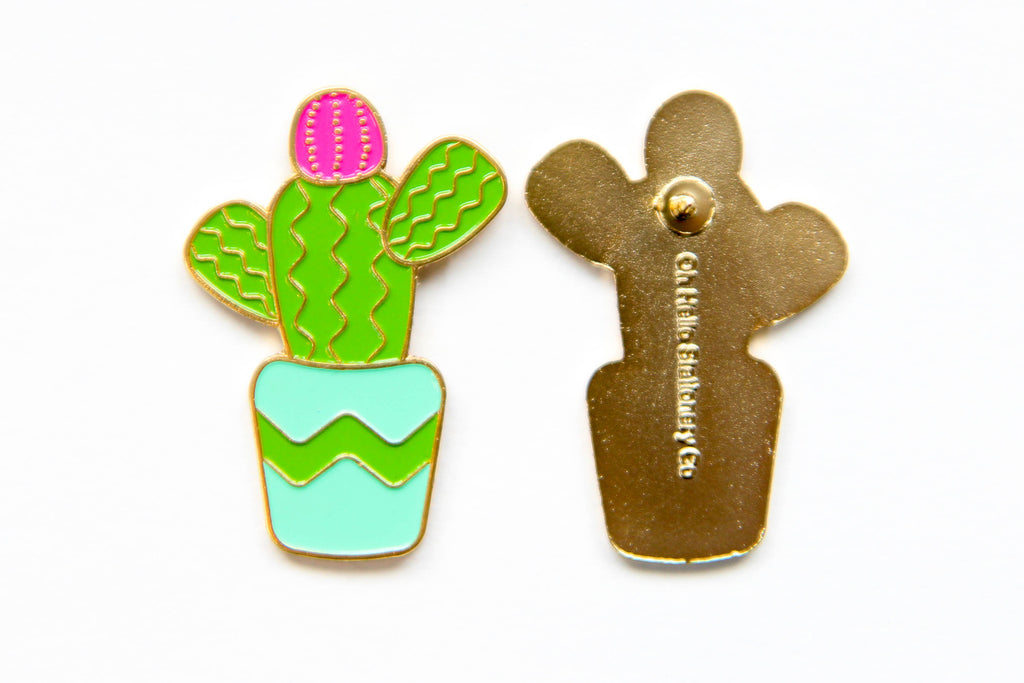 Cactus Enamel Pin - Oh, Hello Stationery Co. bullet journal Erin Condren stickers scrapbook planner case customized gifts mugs Travlers Notebook unique fun