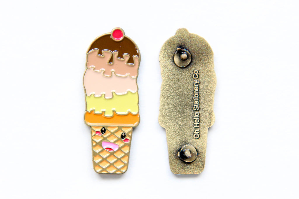 Ice Cream Cone Enamel Pin - Oh, Hello Stationery Co. bullet journal Erin Condren stickers scrapbook planner case customized gifts mugs socks unique fun