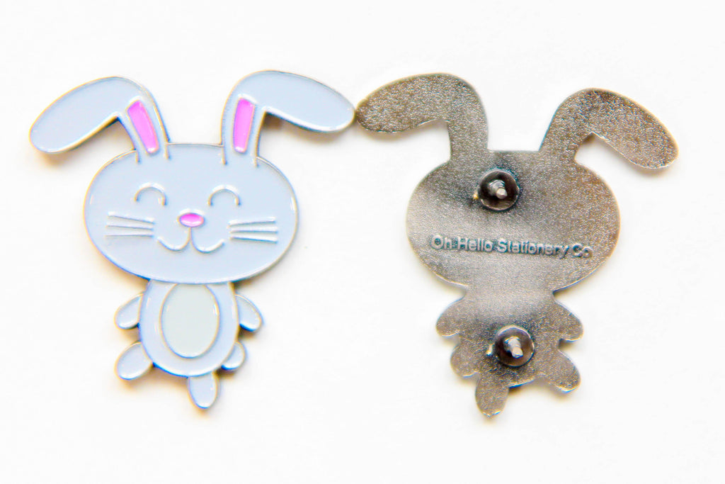 Kawaii Bunny Enamel Pin - Oh, Hello Stationery Co. bullet journal Erin Condren stickers scrapbook planner case customized gifts mugs socks unique fun