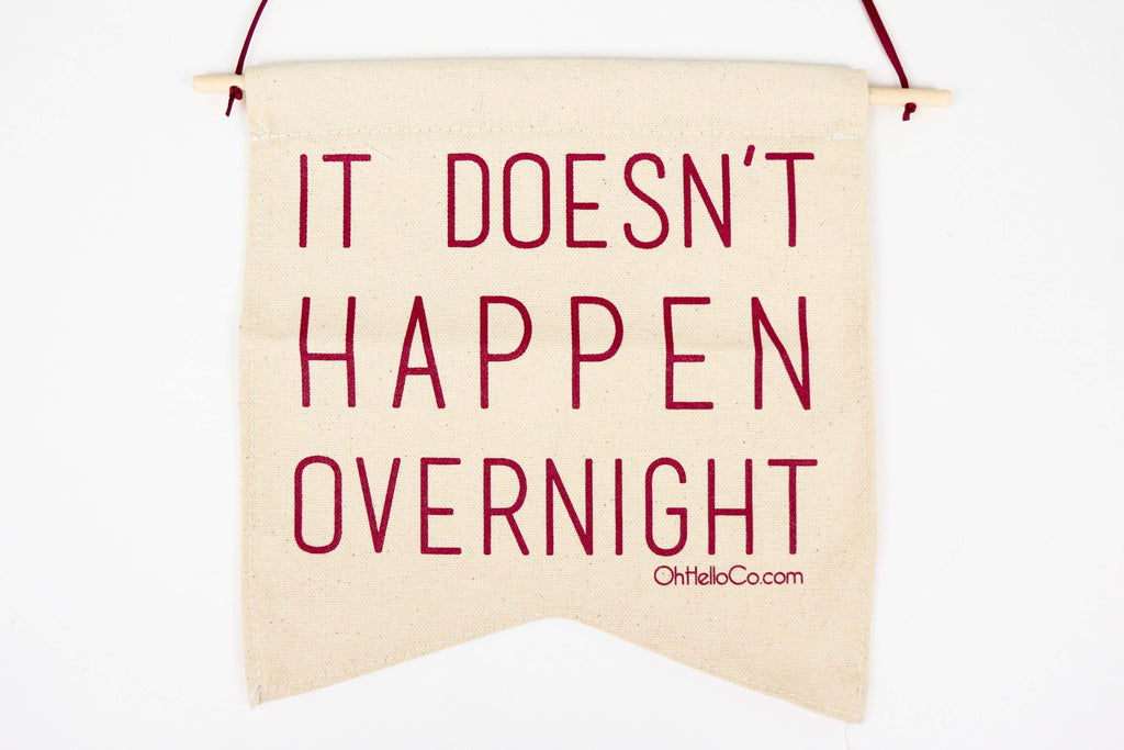 It Doesn't Happen Overnight Wall Pennant - Oh, Hello Stationery Co. bullet journal Erin Condren stickers scrapbook planner case customized gifts mugs Travlers Notebook unique fun
