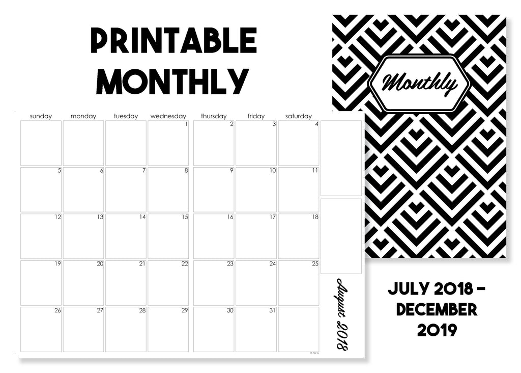 Printable Monthly Calendar Traveler's Notebook Insert - July 2018-December 2019 - Oh, Hello Stationery Co. bullet journal Erin Condren stickers scrapbook planner case customized gifts mugs Travlers Notebook unique fun