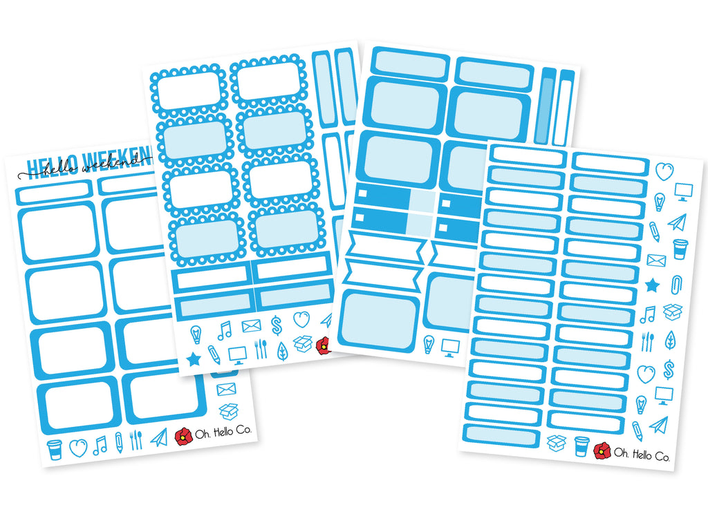 The Light Blues - Rainbow Functional Stickers - Oh, Hello Stationery Co. bullet journal Erin Condren stickers scrapbook planner case customized gifts mugs Travlers Notebook unique fun